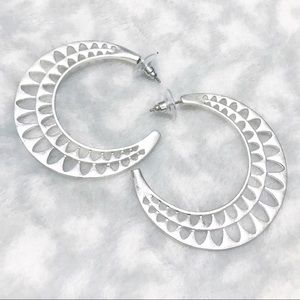Silver Moon Earrings Cutout Boho Hoops